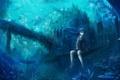 Картинка девушка, рыбы, мост, замок, знак, растения, аниме