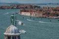 Картинка пейзаж, корабль, дома, Италия, Венеция, канал