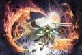 Картинка свет, осколки, драконы, духи, демон, Воин, клинки