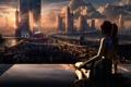 Картинка девушка, отражение, восход, киборг, сидит, город будущего, Солнца