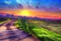Картинка поле, небо, закат