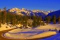 Картинка природа, горы, зима, дорога, фото