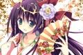Картинка цветок, девушка, узор, веер, арт, yukata, юката