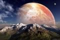 Картинка небо, облака, горы, чужая планета
