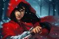 Картинка зима, лес, кровь, нож, Красная шапочка