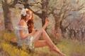 Картинка девушка, деревья, природа, платье