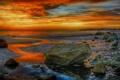 Картинка море, небо, камни, берег, вечер, отлив, hdr