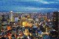 Картинка япония, город, Osaka, зима, снег, вечер, огни