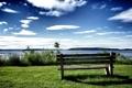 Картинка море, небо, отдых, лавочка, лавка, peace, rest