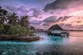 Картинка природа, тропики, океан, остров, курорт, бунгало, ocean