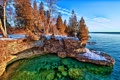Картинка снег, деревья, озеро, обрыв, берег, Jasper, Canada