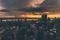 Картинка облака, река, краны, горизонт, здания, сумерки, Соединенные Штаты