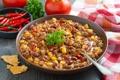 Картинка кукуруза, мясо, перец, помидор, петрушка, блюдо, фасоль