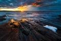 Картинка море, вода, солнце, облака, пейзаж, закат, камни
