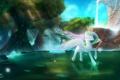 Картинка деревья, река, мультфильм, пони, скала.водопад