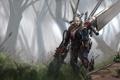 Картинка лес, растительность, крылья, пушка, броня, Мужчина