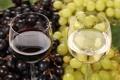 Картинка вино, красное, белое, бокалы, виноград