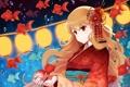 Картинка девушка, капли, рыбки, цветы, аниме, арт, кимоно