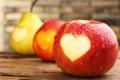 Картинка груши, капли, яблоки, сердце, фрукты, сердечко