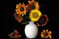 Картинка листья, цветы, подсолнух, шиповник, ваза
