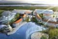Картинка озеро, остров, фонтан, архитектура, лучи солнца, строения