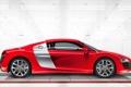 Картинка Audi, Красный, Купэ, Машина, V10, Вид сбоку