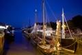 Картинка море, небо, деревья, ночь, корабль, бухта, канал