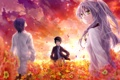 Картинка небо, цветы, Angel Beats, Канадэ Татибана, Аято Наои, Хидэки Хината