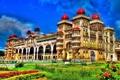 Картинка трава, город, краски, колонны, индия, архитектура, дворец