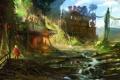 Картинка город, заросли, человек, арт, светофор, руины, сумка