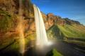 Картинка пейзаж, река, лето, радуга, водопад