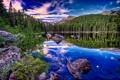 Картинка лес, облака, отражения, горы, озеро