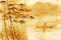 Картинка китайская живопись, человек, джонка