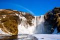 Картинка зима, снег, горы, скалы, водопад, радуга