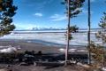 Картинка лед, снег, деревья, озеро, берег, весна, США