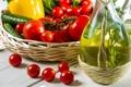 Картинка масло, перец, помидоры, огурцы