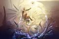 Картинка девушка, птица, крылья, рыба, арт, пузырь, yuu