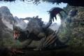 Картинка лес, горы, дракон, крылья, пещера, Darok