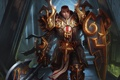 Картинка оружие, воин, арт, мужчина, щит, секира, Diablo III
