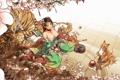 Картинка кошка, девушка, цветы, тигр, дерево, сакура, лиса