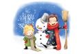 Картинка зима, дети, рисунок, ведро, снеговик, метла, веселье