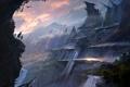 Картинка город, скала, люди, гора, арт, фантастический мир, park jong won