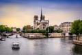 Картинка река, собор парижской богоматери, Париж, Франция, Сена, кораблик