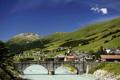 Картинка горы, мост, река, камни, дома, Швейцария, склон