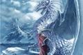 Картинка в сторону, фантастика, рога, девушка, дракон, крылья, зима