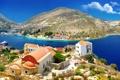 Картинка горы, река, побережье, дома, Греция, Kastelorizo