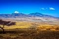 Картинка небо, облака, горы, дерево, долина, деревня, Африка
