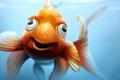 Картинка море, глаза, взгляд, рыбка, арт, плавники, золотая