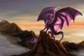Картинка небо, фантастика, океан, скалы, дракон, крылья, арт