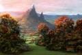 Картинка осень, небо, трава, снег, деревья, горы, art